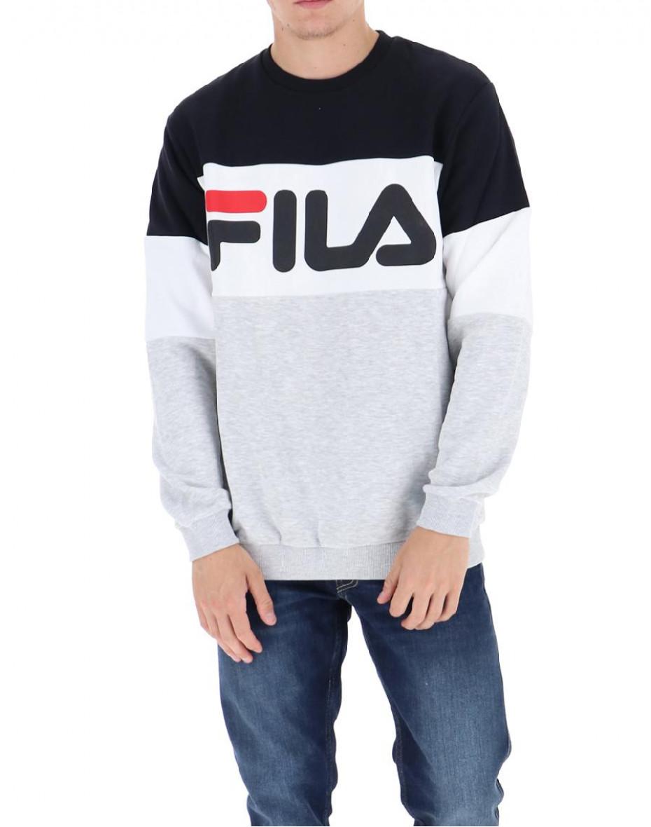 Felpa color-block con logo - Nero/grigio
