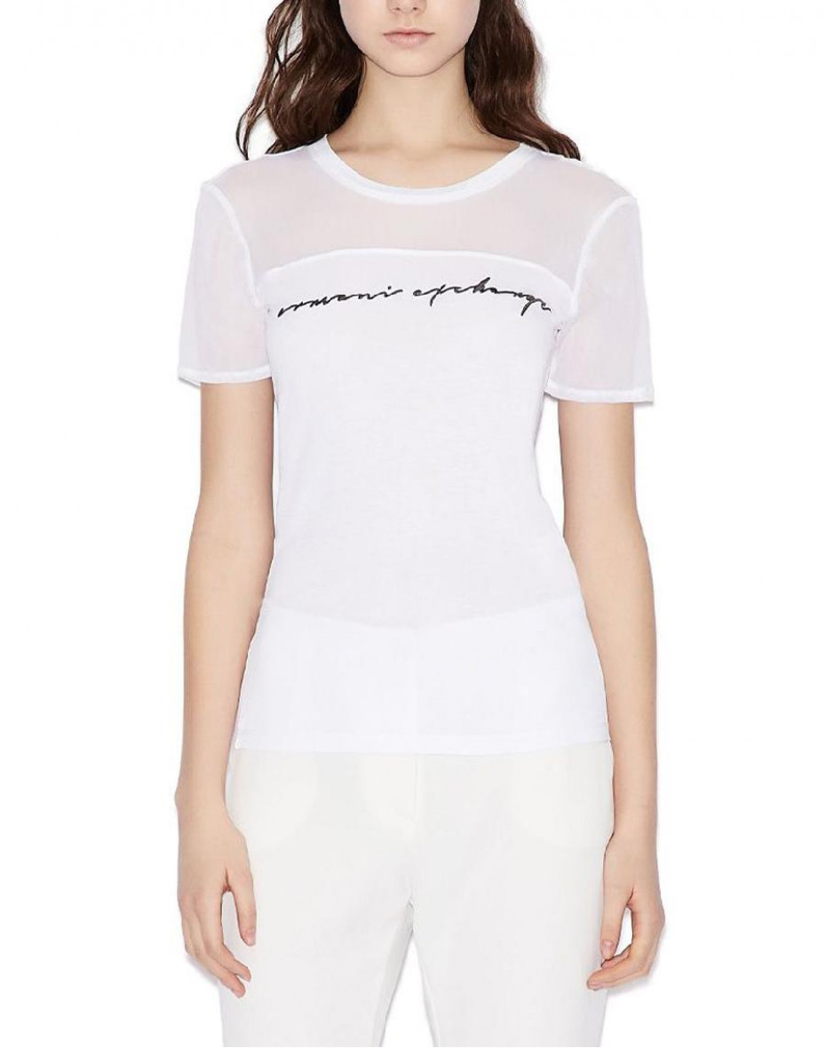 T-shirt con inserto in rete - White