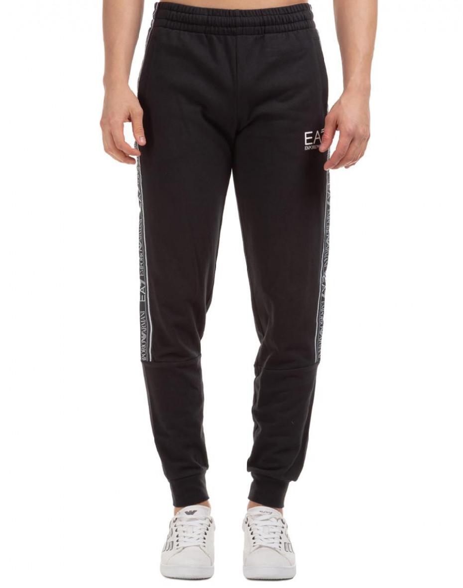 Pantaloni jogger con banda logata - Nero