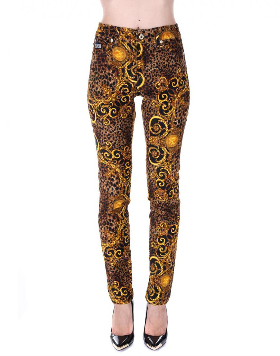 Jeans skinny stampa Barocco - Oro