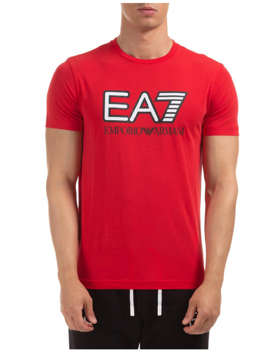 T-shirt girocollo con logo - Rossa