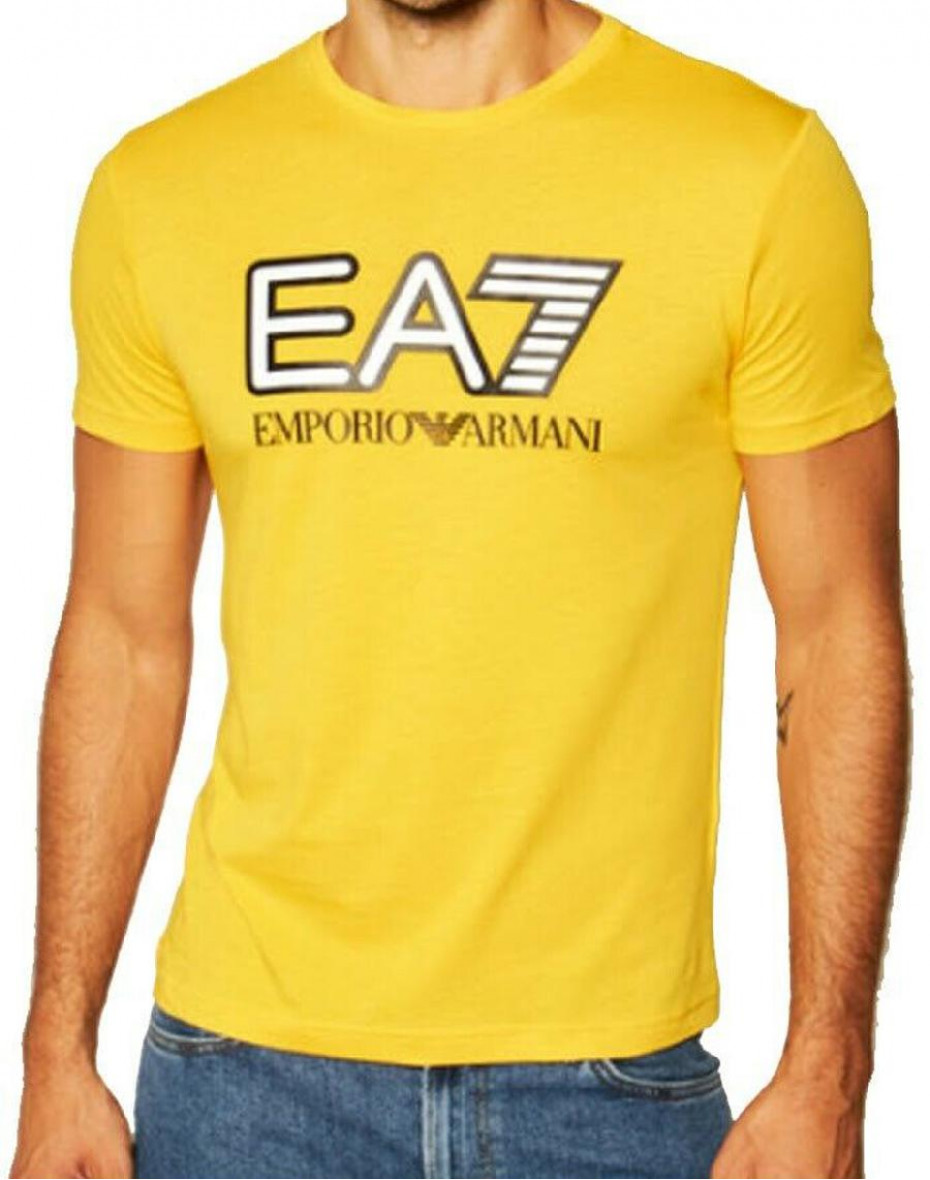 T-shirt girocollo con logo - Giallo