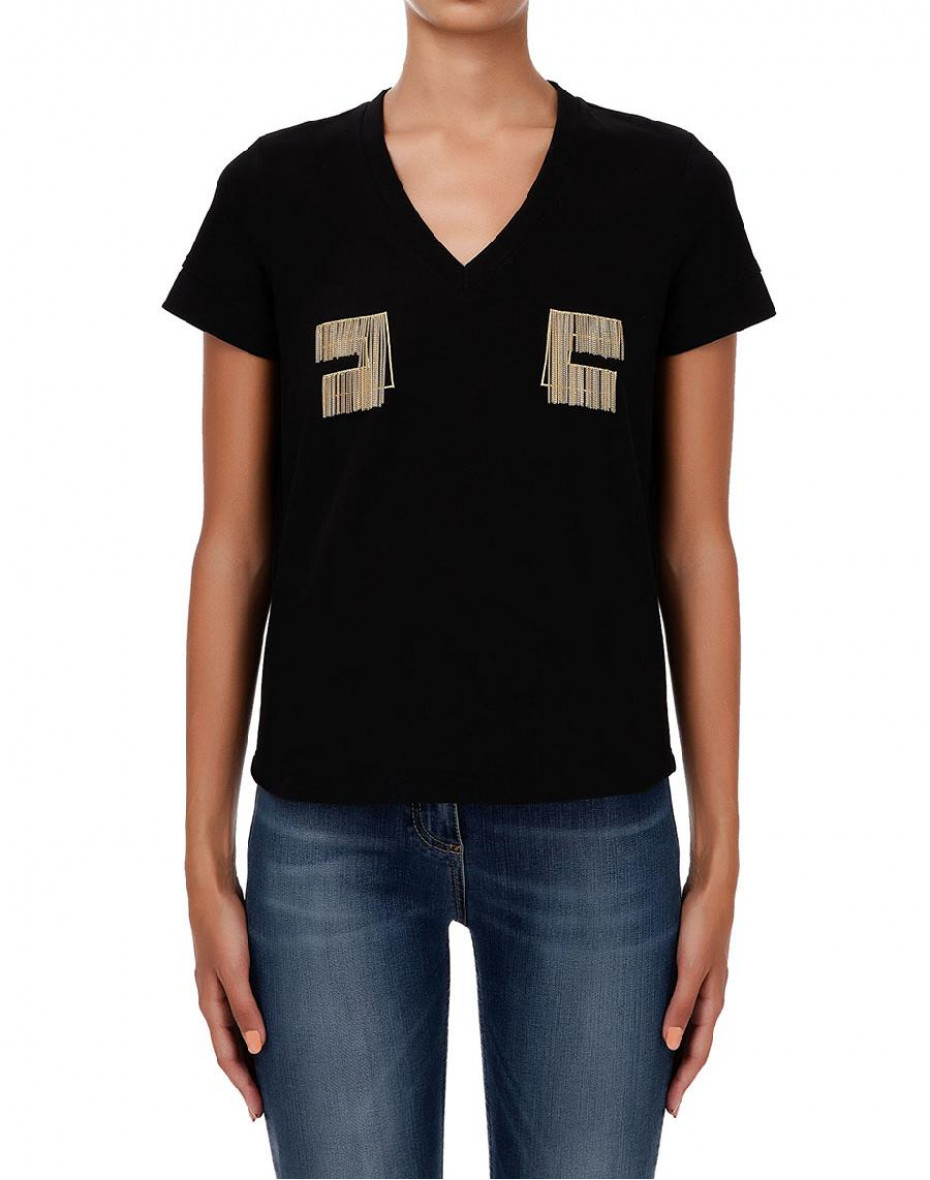 T-shirt con logo ricamato in oro light - Nera