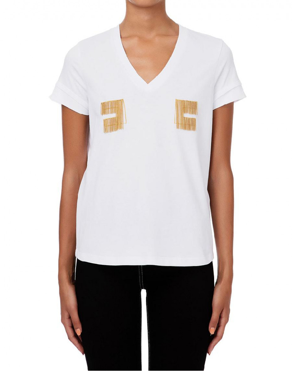 T-shirt con logo ricamato in oro light - Gesso