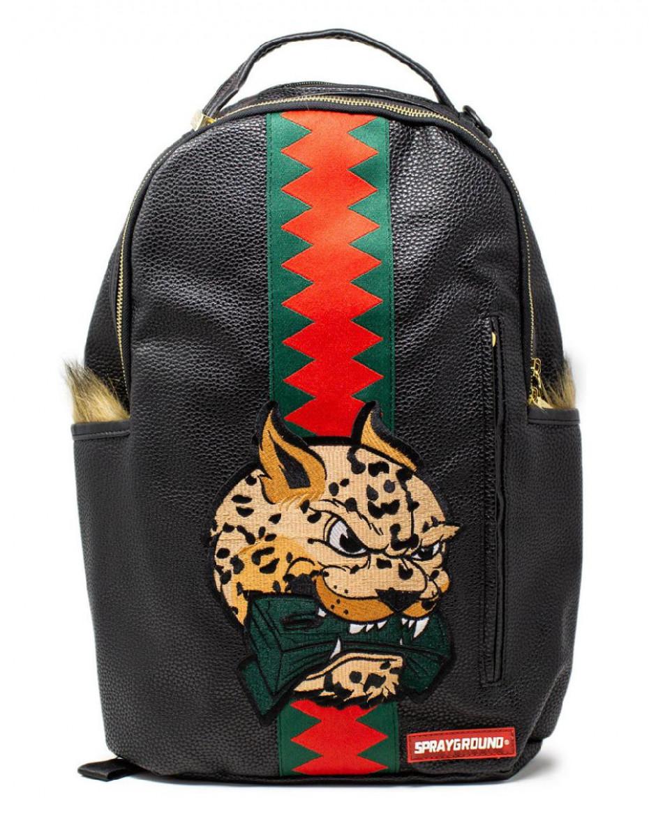 Zaino Leopard Fur Money in ecopelle - Nero