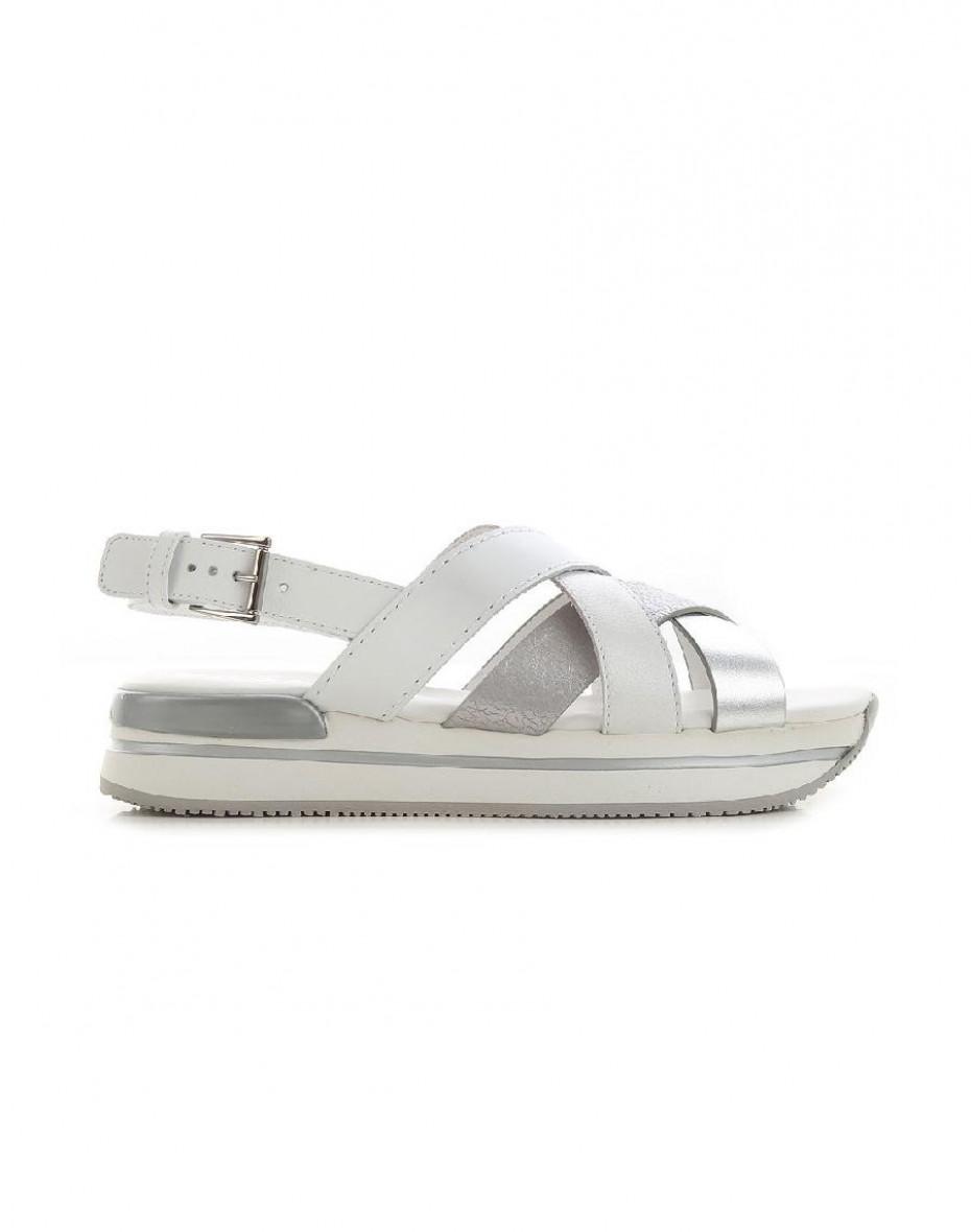 Sandalo H222 Incrociato - B.co/argento