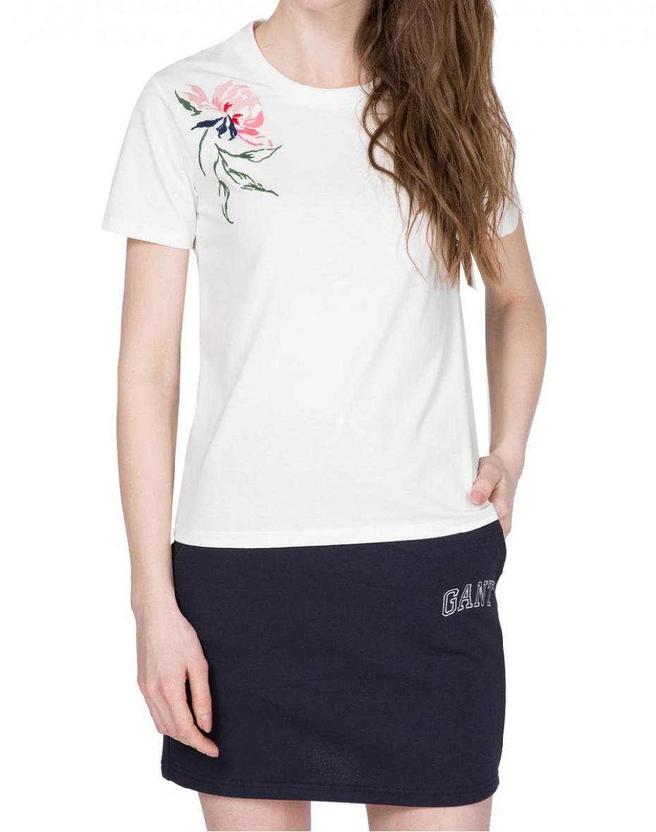T-shirt con ricamo peonia - Bianca