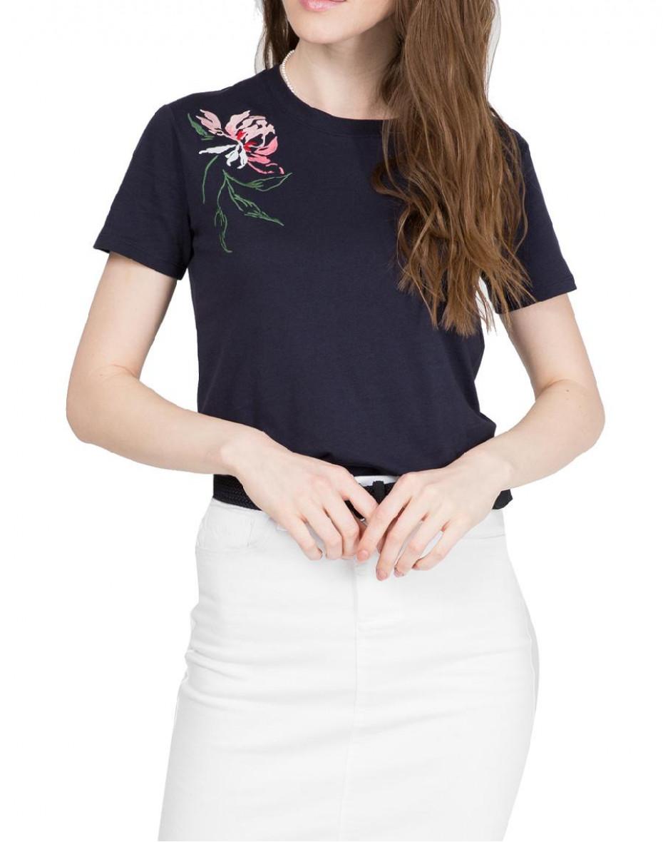 T-shirt con ricamo peonia - Blu
